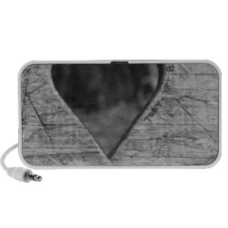 Heart cutout in wood travel speakers