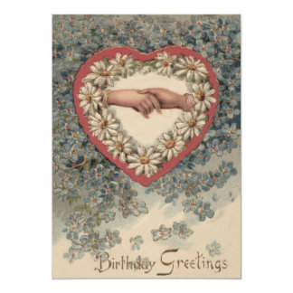 Heart Daisy Forget Me Not Holding Hands Floral 13 Cm X 18 Cm Invitation Card