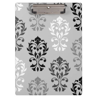 Heart Damask Art I Black Greys White Clipboards