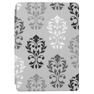 Heart Damask Art I Black Greys White iPad Air Cover