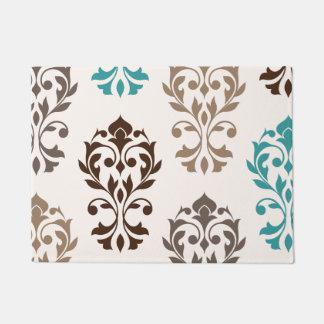 Heart Damask Art I Browns Teal Cream Doormat
