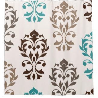 Heart Damask Art I Browns Teal Cream Shower Curtain