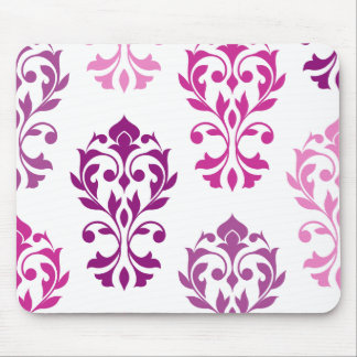 Heart Damask Art I Pinks Plums White Mouse Pad