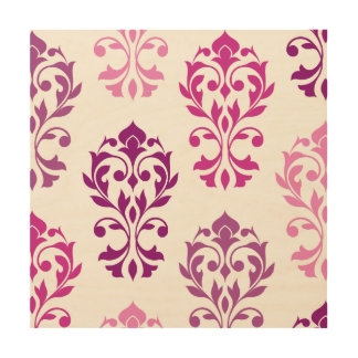 Heart Damask Art I Pinks Plums White Wood Canvas