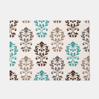 Heart Damask Art Ib Browns Teal Cream Doormat