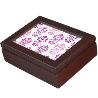 Heart Damask Art Ib Pinks Plums White Keepsake Boxes