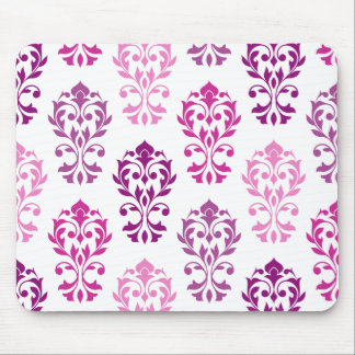 Heart Damask Art Ib Pinks Plums White Mouse Pad