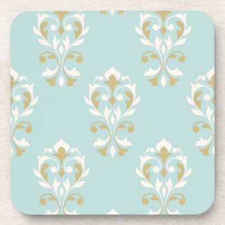 Heart Damask Big Ptn Cream & Gold on Blue Coaster