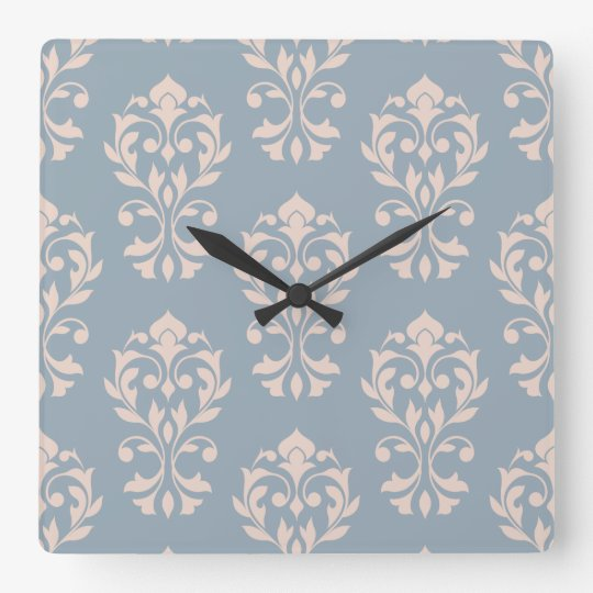 Heart Damask Big Ptn II Pink on Blue Square Wall Clock