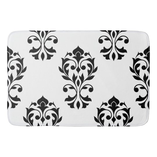 Heart Damask Lg Ptn Black on White Bath