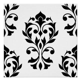 Heart Damask Lg Ptn II Black on White