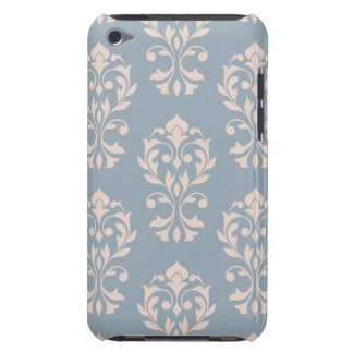 Heart Damask Lg Ptn II Pink on Blue Barely There iPod Cases