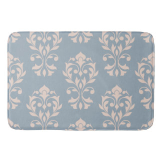 Heart Damask Lg Ptn II Pink on Blue Bath Mat