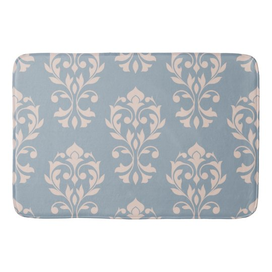 Heart Damask Lg Ptn II Pink on Blue