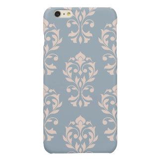 Heart Damask Lg Ptn II Pink on Blue iPhone 6 Plus Case