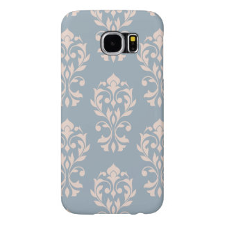 Heart Damask Lg Ptn II Pink on Blue Samsung Galaxy S6 Cases