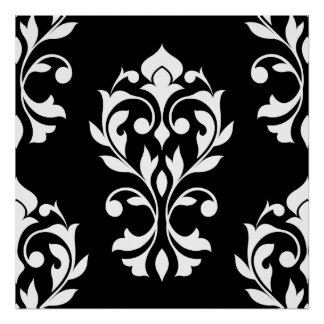Heart Damask Lg Ptn II White on Black Poster
