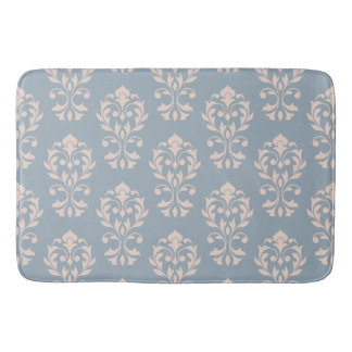 Heart Damask Ptn II Pink on Blue Bath Mat