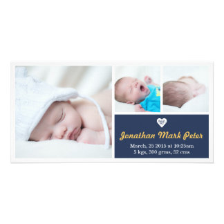 Heart Dark Blue & Yellow Birth Announcement Card