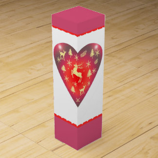 Heart Deer Christmas Wine Gift Box