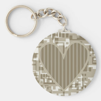 Heart Design Basic Round Button Key Ring