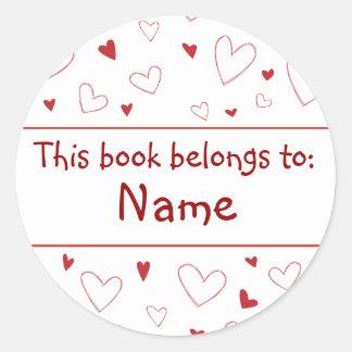 Heart Design - Book Plate Classic Round Sticker