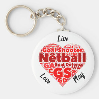 Heart Design GS Inspirational Netball Key Ring