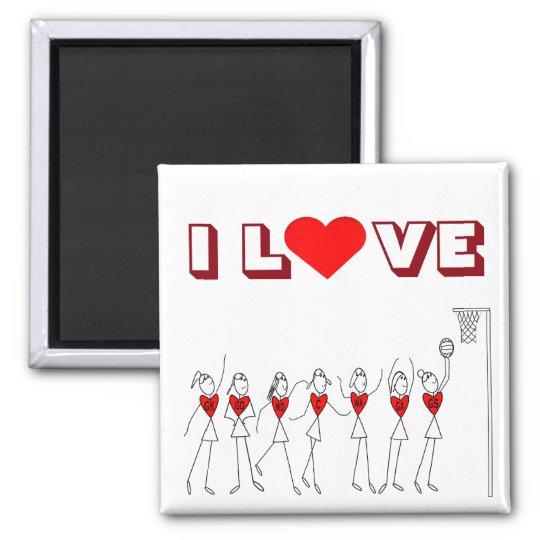 Heart Design I Love Netball Magnet