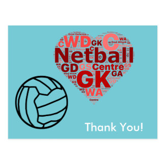 Heart Design Netball Thank You Postcard