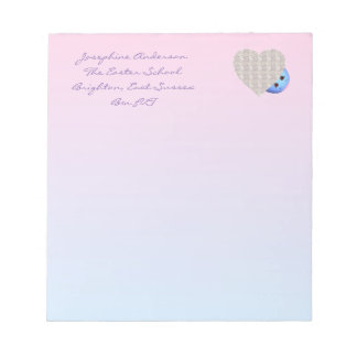 Heart Design Pink and Blue Notepad