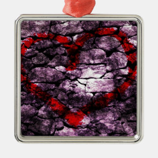 Heart Digital Graffiti Silver-Colored Square Decoration