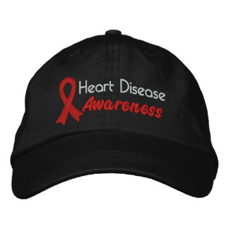Heart Disease Awareness Embroidered Baseball Caps