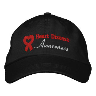 Heart Disease Awareness Ribbon Embroidered Hat
