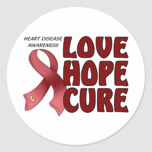 Heart Disease Awareness Round Stickers