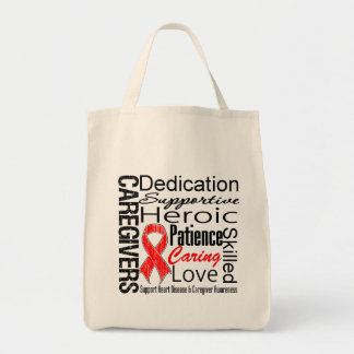 Heart Disease Caregivers Collage Grocery Tote Bag