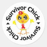 Heart Disease Survivor Chick Round Sticker