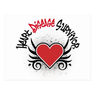 Heart Disease Survivor Grunge Postcard