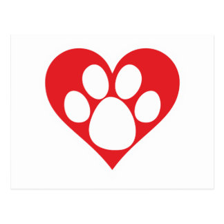 Heart Dog Paw Postcard