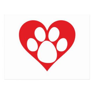 Heart Dog Paw Postcard