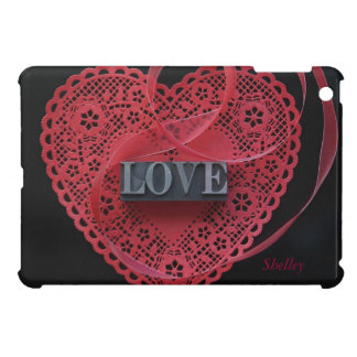 heart doily with love word iPad mini cover
