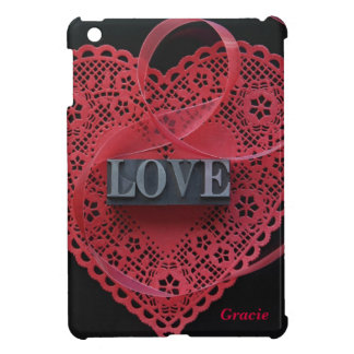 heart doily with love word iPad mini cases