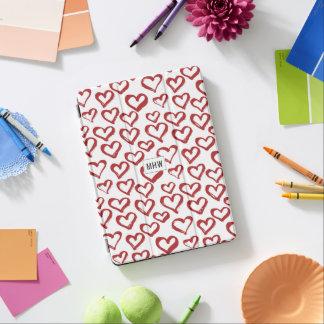Heart Doodles custom monogram device covers iPad Air Cover