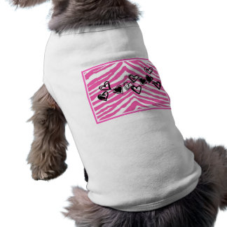 HEART DOODLES ON PINK ZEBRA PRINT PET TSHIRT