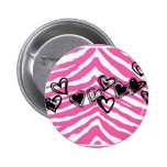 HEART DOODLES ON PINK ZEBRA PRINT PIN