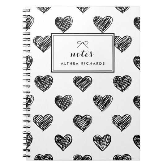 Heart Doodles Pattern Personalised Notebook