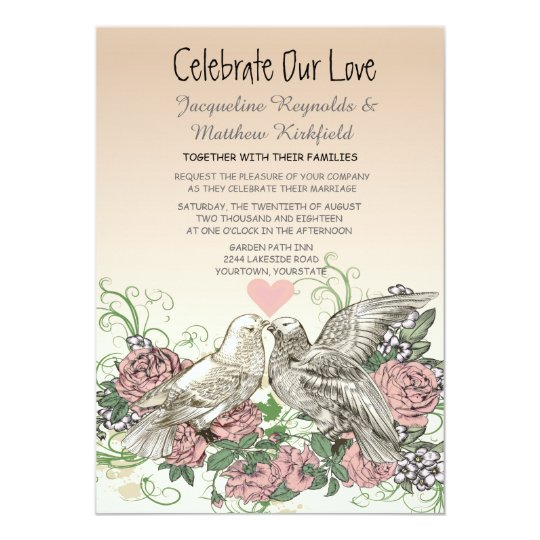 Heart Doves Rose Pink Romance Wedding Card
