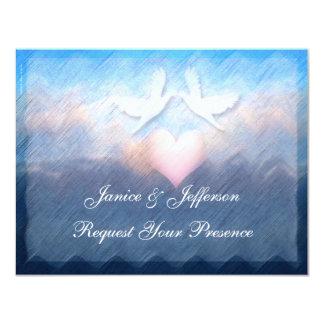 Heart Doves Sky Sea Wedding Invitation