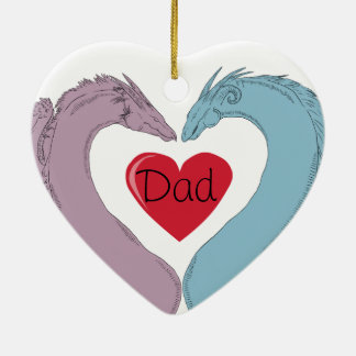 Heart Dragon Ornament with Mum/Dad (Customisable)