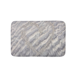 Heart drawing in the sand, romantic shower bath mats