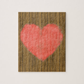 Heart Drawing in Wood Wall Jigsaw Puzzle